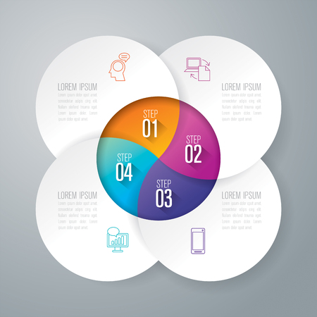 Infographics design and business icons with 4 options.