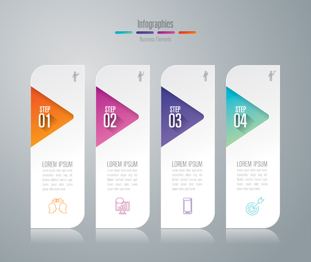 Info-graphics design and business icons with 4 options.