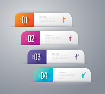 Infographics design vector and business icons with 4 options.