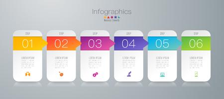 Tijdlijn infographics ontwerp vector en zakelijke pictogrammen met 6 opties.