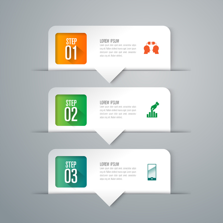 Infographics design vector and business icons with 3 options.