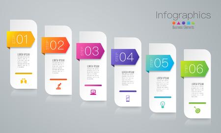 Icone di vettore e di affari di progettazione di infographics con 6 opzioni. Vettoriali