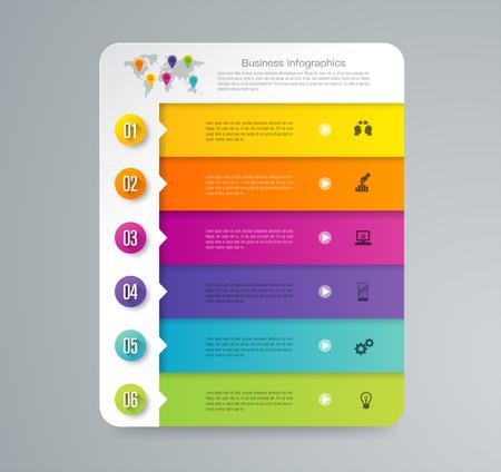 Infografiken entwerfen Vektor- und Geschäftsikonen mit 6 Optionen.