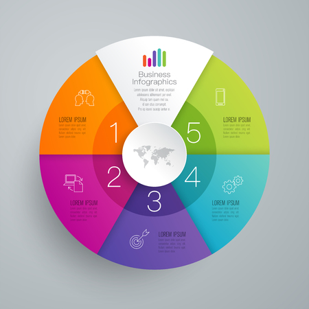 Icone di vettore e di affari di progettazione di Infographics con 5 opzioni.