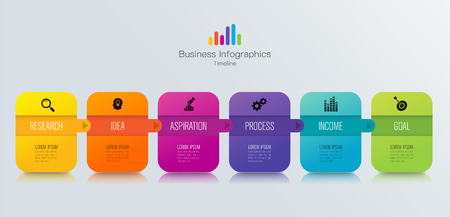 Timeline infographics design  and business icons with 6 options. Illustration