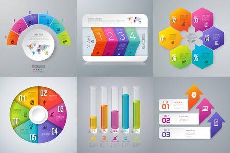 Conjunto de iconos de negocios y diseño de infografías.