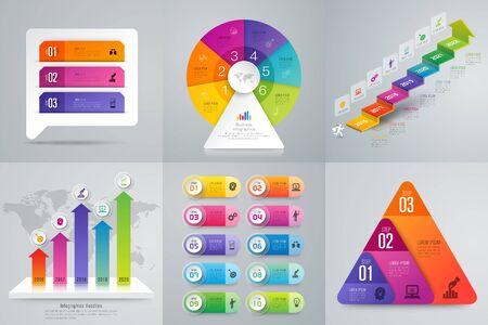 Set di infografica design e icone di affari.