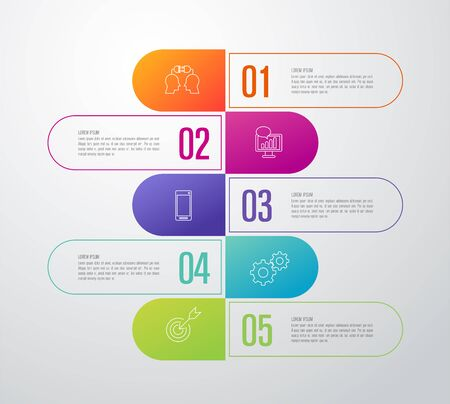 Infographics design vector and business icons with 5 options. 스톡 콘텐츠 - 131398385