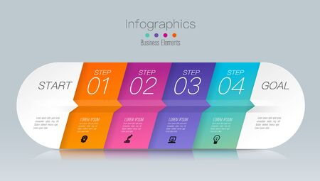 Infographics design vector and business icons with 4 options. 스톡 콘텐츠 - 131398386