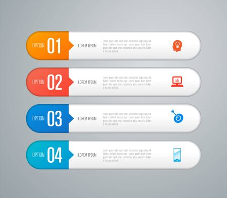 Infographics design vector and business icons with 4 options. 스톡 콘텐츠 - 131398390
