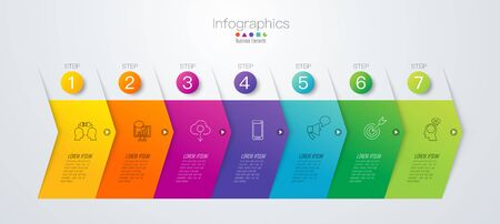 Timeline infographics design vector and business icons with 7 options. 스톡 콘텐츠 - 131398395