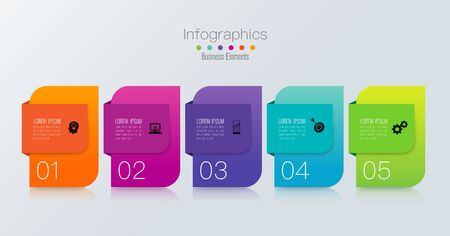 Infographics design vector and business icons with 5 options. 스톡 콘텐츠 - 131398460