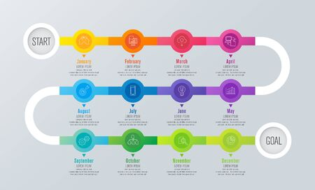 Timeline infographics design vector and business icons with 12 months of the year. Illusztráció