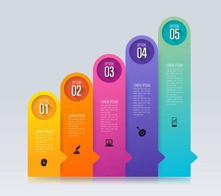 Infografiken entwerfen Vektor- und Geschäftsikonen mit 5 Optionen. Vektorgrafik