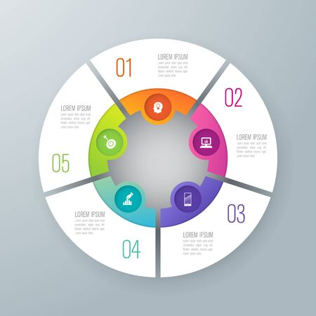 Infographics design vector and business icons with 5 options.