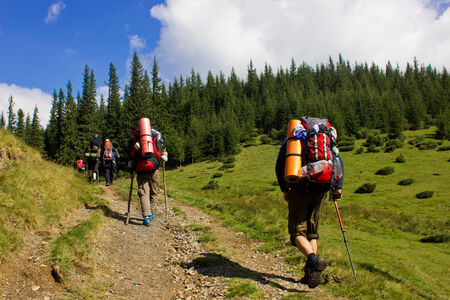sleeping pad: hiking in the mountains Stock Photo