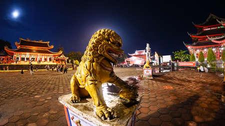 Semarang, Central Java, INDONESIA - April 18, 2019: Sam Po Kong Temple at night, an iconic and heritage landmark.