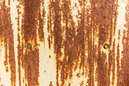 clavados: La superficie de una vieja chapa de acero oxidada pintada. Dos cabezas de uñas Fondo o textura.