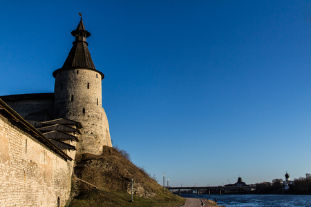 Tower of the Pskov fortress on the bank of the Velikaya River.