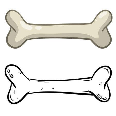 Set of bones. Part of the human skeleton. White dog Toy. Vector Cartoon and flat illustration