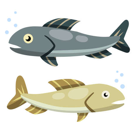 Set of fish. Sea food. Cartoon flat illustration isolated on white background. Element of fishing. River blue and grey animal with scales, fins and a tail