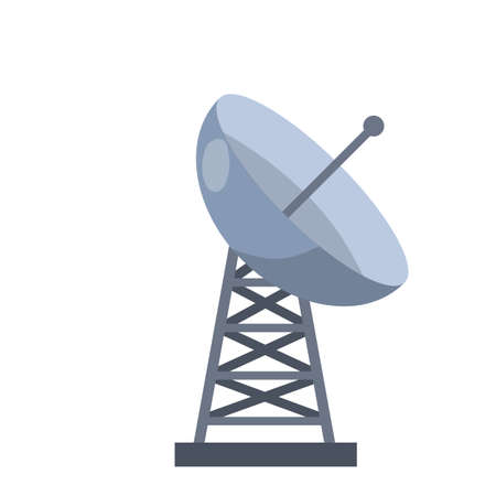 Antenna for receiving radio and television signals. Radar tower. Metal industrial construction. Radio waves and communications. Cartoon flat illustration