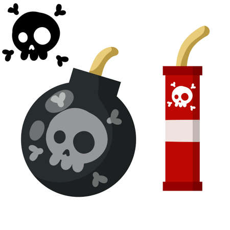 Black Bomb and explosive objects. Set of Dangerous elements. Black skull and bones. Cartoon flat illustration. Red stick of dynamite 일러스트
