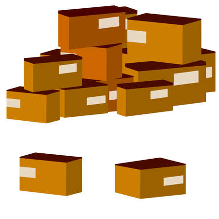 Set of parcels in cardboard boxes. Pile of brown objects. Square carton. Cartoon flat illustration. Warehouse and mail item. Delivery of cargo. Packed goods