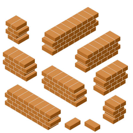 Set of red brick fence in isometric view. Low barrier and fence. Construction of buildings. Material for renovation of house and curb of road Ilustração
