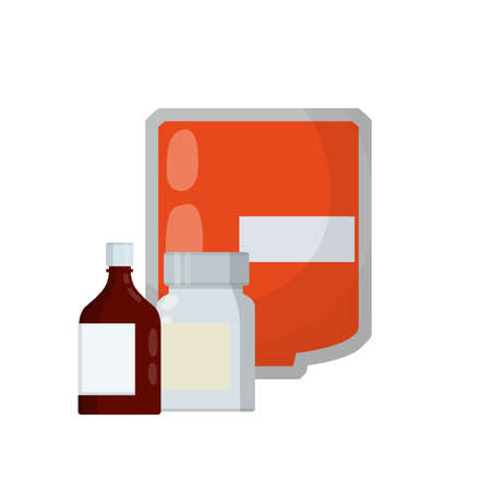 Medical preparation. Element hospitals, clinics. Transfusion. Blood packaging. Cartoon flat illustration. Treatment of patient with blood. Red liquid in bag with tube. Set of pill package