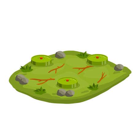 Minefield. Set of mines on ground. Rocks and grass. Modern warfare landscape. Explosive element of war. Cartoon flat illustration. Green lawn with bombs