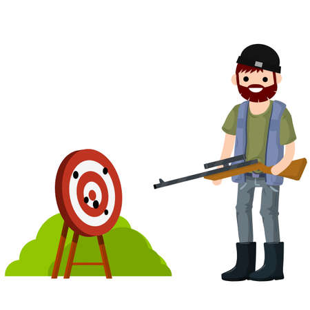 Man hunter with gun. Competition and victory. Shooting and championship. Equipment for hunting animals. Target for arrows. Guy with rifle. Shooter and weapon Illustration