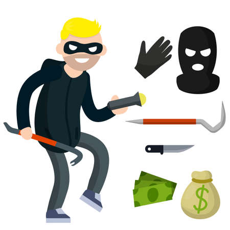Thief with knife. Robber in black cloth. Set of tools for crime. pinch bar and crowbar, glove. Security problem. Funny guy. Cartoon flat illustration. Man burglar Illusztráció