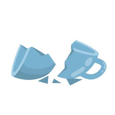 Blue mug. Element of kitchen. Broken cup. Shards and sloppy handling. Cartoon flat illustration