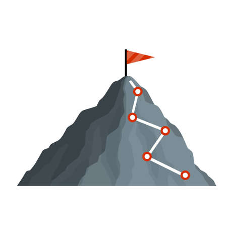 Climbing mountain with red flag. Points and stages of route. Business motivation in personal growth. Mountaineering and sports. Cartoon flat icon. Self-development and success