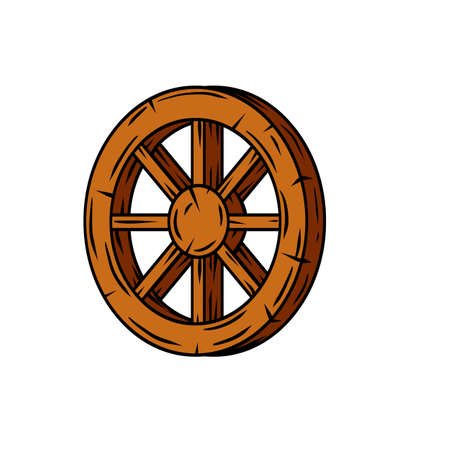 Wooden cart wheel. Old object with cracks. Element of the village and medieval. Detail of the mechanism for the ride. Cartoon illustration