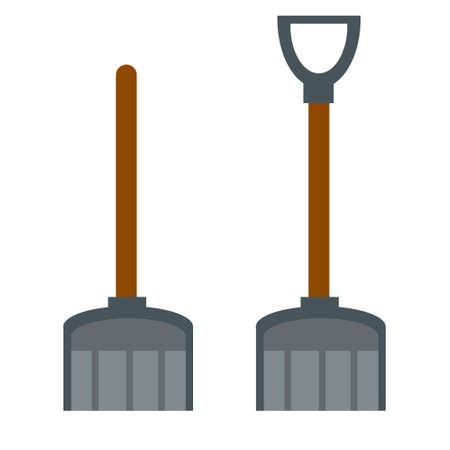 Shovel for snow cleaning. Wide shoulder blade. Flat cartoon illustration isolated on white background. A set of winter objects with a handle