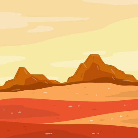 Mars. Red planet. Martian landscape with desert, mountains and dust. Place of colonization for the base. Science and space travel. Flat cartoon illustration Ilustração