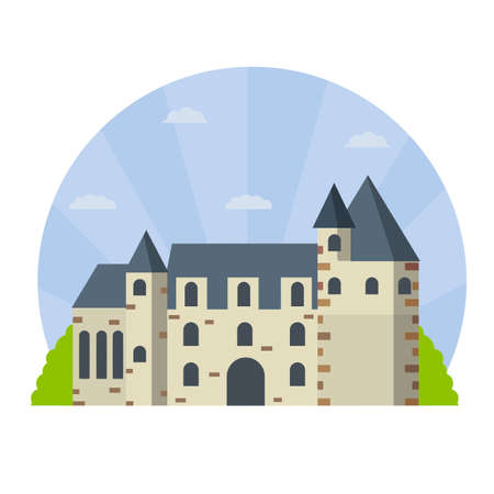 Castle of Chenonceau. French tourist attraction. Travel to Europe. Stone Palace with tower and wall. Flat cartoon illustration. Medieval house and city