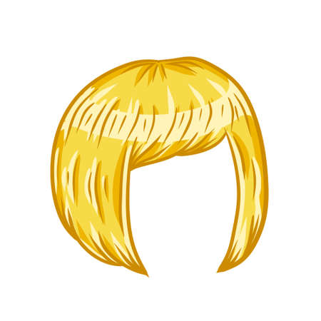 Women hairstyle. Blonde Hair on the head. Trendy modern haircuts girl - bob cut. Sketch color cartoon illustration. Mask for app