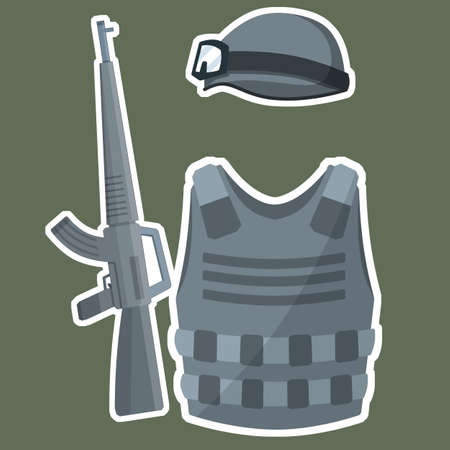 Modern weapons and armor of a soldier. Military helmet, bulletproof vest, rifle for shooting. Special forces uniforms. Military kit. Cartoon flat illustration Çizim