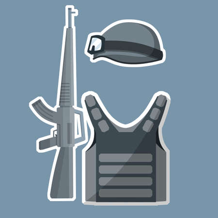 Military helmet, bulletproof vest, rifle for shooting. Special forces uniforms. Military kit. Cartoon flat illustration