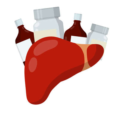 Liver and packaging of medications. Treatment of Internal organ of person. Bottle with pills and drug. Health and pharmacy. Cartoon flat illustration. Prevention of cirrhosis and hepatitis
