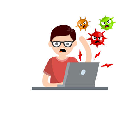 Man at laptop with virus. problem with computer. Online threat. Young angry guy. Account hacking. Cartoon flat illustration. Hacker attack Vettoriali