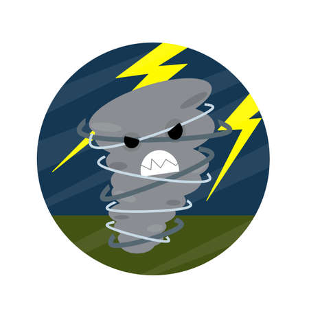 Tornadoes and strong winds. Storm bad weather. hurricane with lightning. whirlwind with face. dangerous situation. Natural disaster. Cartoon flat illustration