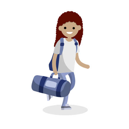 Girl runs with a big blue sports bag. Woman goes to training and carries load. Backpack and vacation. Character in jeans and white t-shirt. Cartoon flat illustration Illustration