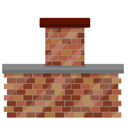Tube and chimney with smoke on roof of house. Top element of the building. Red Brick element. Cartoon flat illustration