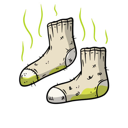 Dirty sock. The bad stench. Sloppy clothes. Stinky toe. Grey Object for washing. Cartoon flat illustration. Green wave. Smelly feet
