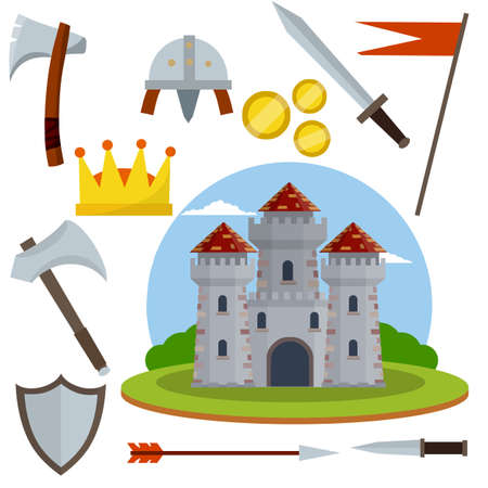 Medieval castle with tower and wall, Gate with red roof. set of old weapons of knight - sword, arrow, shield, flag, axe, dagger, crown. Cartoon flat illustration. European historical Armor and weapons