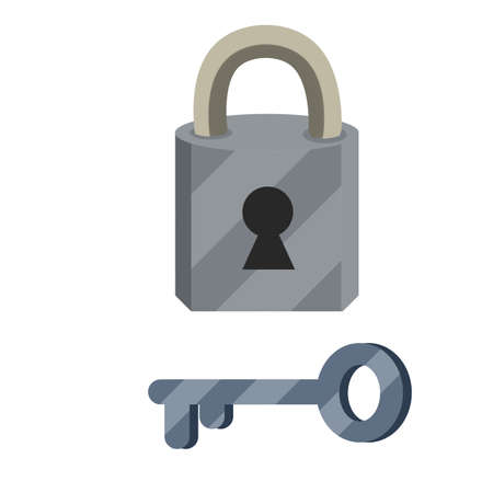 Closed lock and Keyhole. Cartoon flat illustration. Metal key. Protection and security. Element of door. Block and unlock